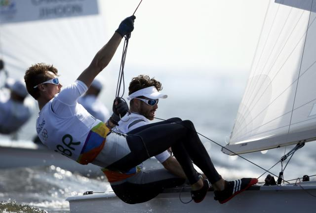 2016 Rio Olympics - Sailing - Preliminary - Men's Two Person Dinghy - 470 - Race 8/9/10 - Marina de Gloria - Rio de Janeiro, Brazil - 16/08/2016. Luke Patience (GBR) of United Kingdom and Chris Grube (GBR) of United Kingdom compete. REUTERS/Benoit Tessier FOR EDITORIAL USE ONLY. NOT FOR SALE FOR MARKETING OR ADVERTISING CAMPAIGNS.