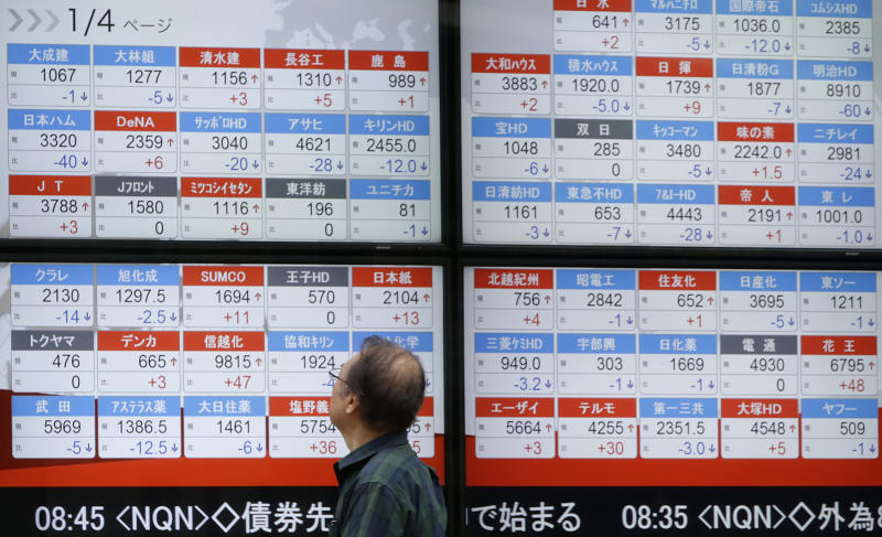 A man looks at an electronic stock board showing Japan's Nikkei 225 index at a securities firm in Tokyo Thursday, Aug. 17, 2017. Asian shares were mostly higher Thursday, tracking gains overnight on Wall Street. The Nikkei index slipped as the yen strengthened against the U.S. dollar. (AP Photo/Eugene Hoshiko)