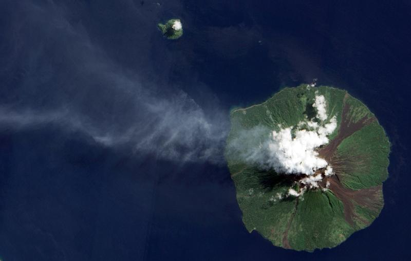 Manam island, pictured here in a 2015 eruption, is a volcanic cone that towers out of the sea north of the Papua New Guinea mainland andhas a history of eruptions