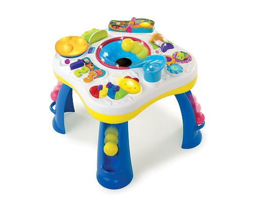 <b>Having a Ball - Get Rollin' Activity Table by Bright Stars</b><br><br>Your toddler will never run out of new things to do and learn with the Get Rollin' Activity Table by Bright Stars. From the ball ramp to the peek-a-boo gator and the caterpillar piano, this activity table provides hours of entertainment and learning. It fosters learning by teaching shapes, colours, numbers and more. Suggested price $69.99, recommended age 6 months to 3 years.