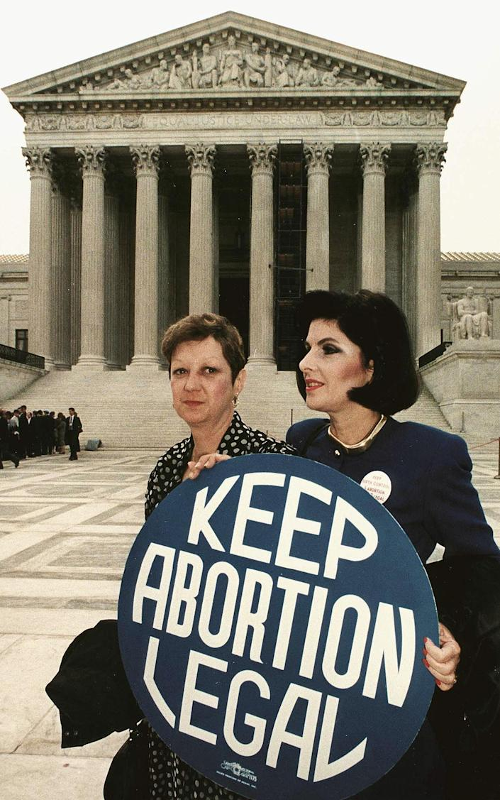 <p>This April 26, 1989 file photo shows Norma McCorvey (L), known as