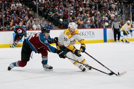 Apr 22, 2018; Denver, CO, USA; Colorado Avalanche defenseman Nikita Zadorov (16) defends against Nashville Predators left wing Austin Watson (51) in the first period in game six of the first round of the 2018 Stanley Cup Playoffs at the Pepsi Center. Mandatory Credit: Isaiah J. Downing-USA TODAY Sports