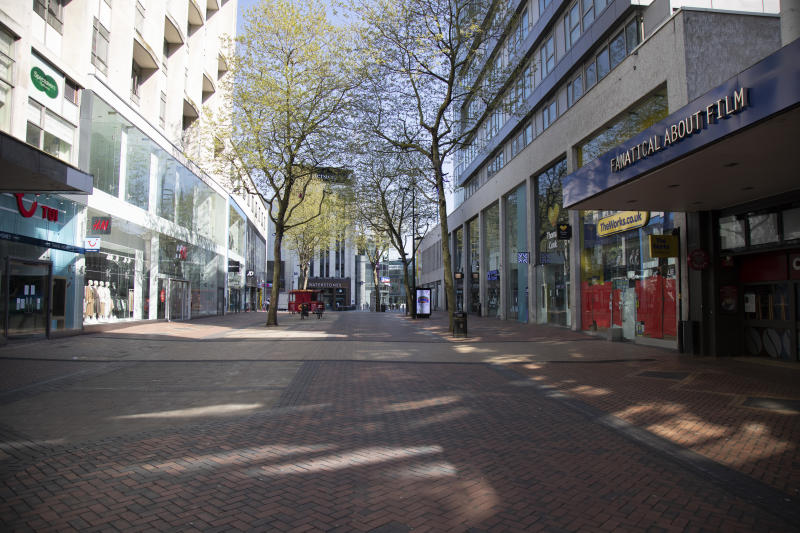 Birmingham city centre eerily quiet and deserted on New Street, one of the normally busy shopping areas, under lockdown due to Coronavirus on 24th April 2020 in Birmingham, England, United Kingdom. Coronavirus or Covid-19 is a new respiratory illness that has not previously been seen in humans. While much or Europe has been placed into lockdown, the UK government has extended stringent rules as part of their long term strategy, and in particular 'social distancing', which has left usually bustling areas like a ghost town. (photo by Mike Kemp/In PIctures via Getty Images)