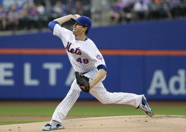 New York Mets pitcher Jacob deGrom will skip his next scheduled start on Monday after hyperextending his throwing elbow. (AP Photo)