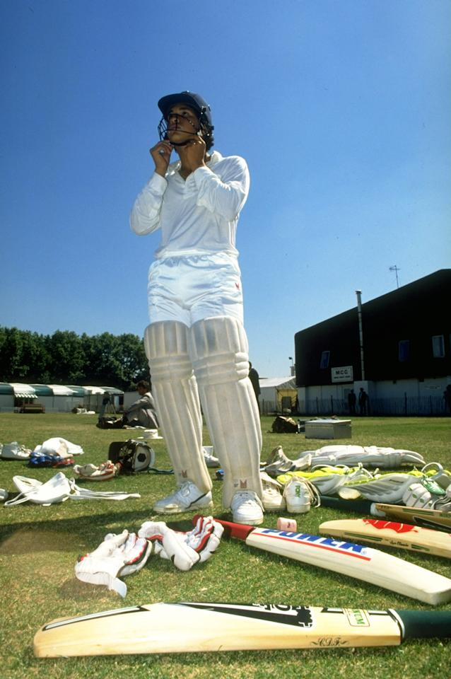 Oct 1989:  Sachin Tendulkar of India is surrounded by bats and gloves during their tour to England. \ Mandatory Credit: Ben  Radford/Allsport