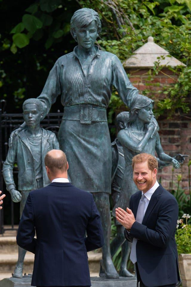 William and Harry with the statue