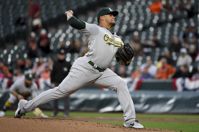 Oakland Athletics starting pitcher Frankie Montas throw during the first inning of the team's baseball game against the Baltimore Orioles, Wednesday, April 10, 2019, in Baltimore. (AP Photo/Will Newton)