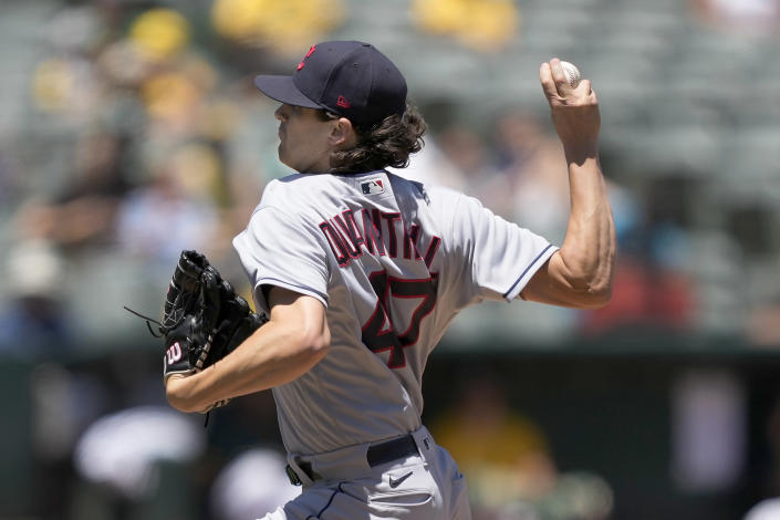 Cleveland Indians starting pitcher Cal Quantrill delivers against the Oakland Athletics during the second inning of a baseball game Saturday, July 17, 2021, in Oakland, Calif. (AP Photo/Tony Avelar)