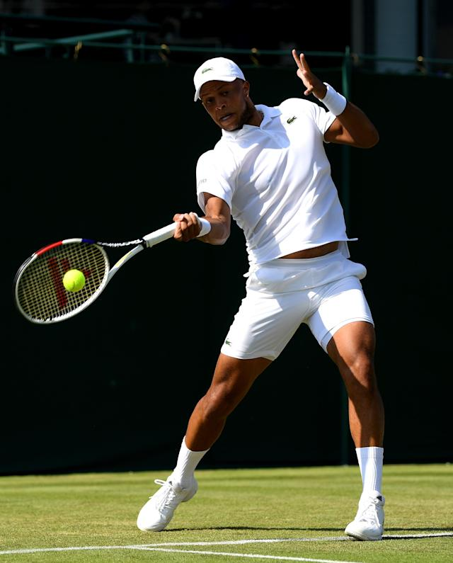 Jay Clarke of Great Britain, partner of James Ward of Great Britain plays a forehand in his Men's Doubles first round match against Ken Skupski of Great Britain and John-Patrick Smith of Australia during Day three of The Championships - Wimbledon 2019 at All England Lawn Tennis and Croquet Club on July 03, 2019 in London, England. (Photo by Shaun Botterill/Getty Images)