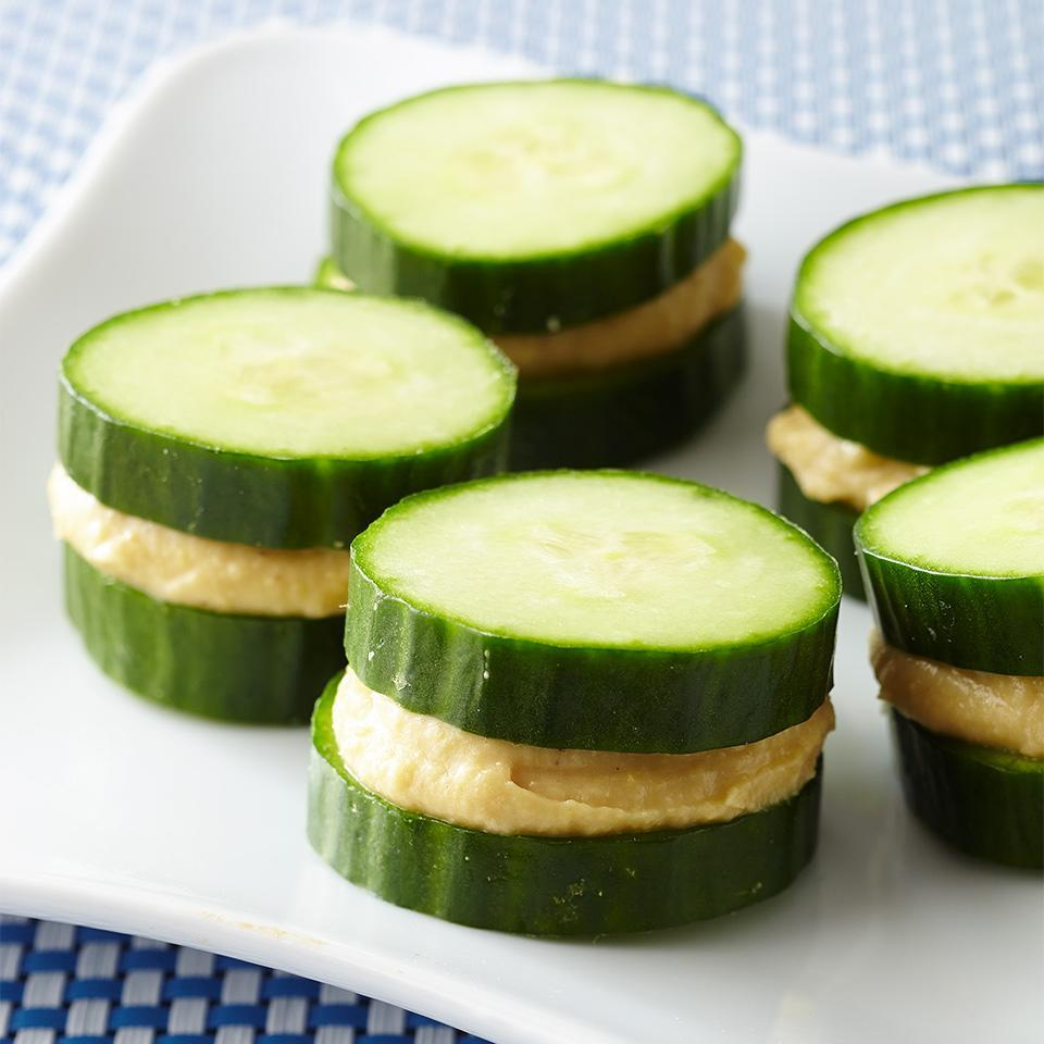 <p>Cucumber tea sandwiches get a low-carb makeover when you skip the bread and add high-protein hummus.</p>