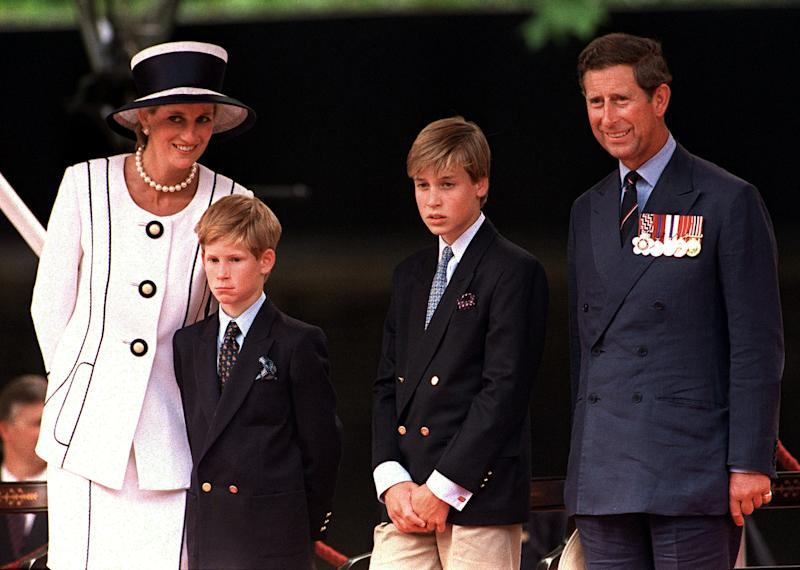 Princess Diana, Prince Harry, Prince William and Prince Charles in London in 1994. (Princess Diana Archive via Getty Images)