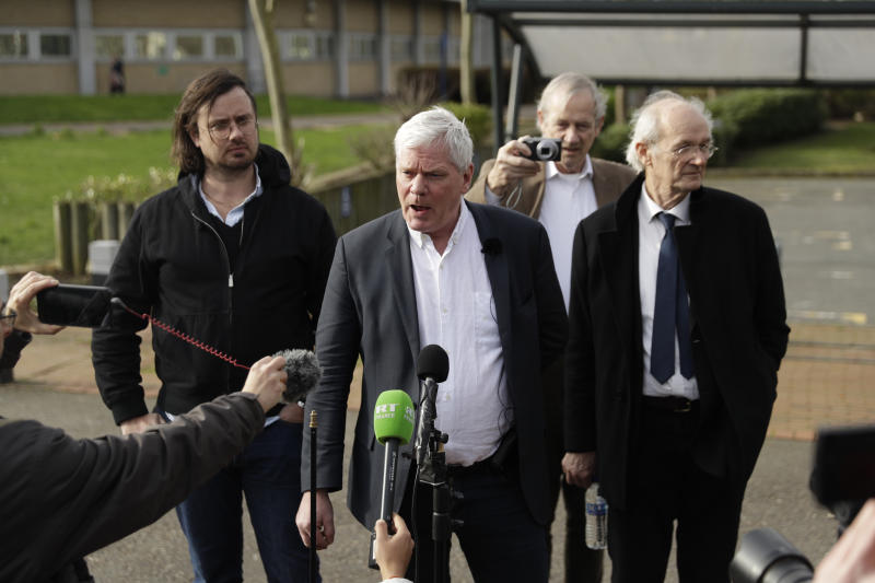"The Editor-in-chief of WikiLeaks, Kristinn Hrafnssonon, centre, from Iceland, speaks to the media flanked by Julian Assange's father John Shipton, right, and half-brother Gabriel Shipton, left, on the second day of a week of opening arguments for the extradition of WikiLeaks founder Julian Assange outside Belmarsh Magistrates' Court in south east London, Tuesday, Feb. 25, 2020. U.S. authorities, want to try Assange on espionage charges. A lawyer for the Americans said the Australian computer expert was an ""ordinary"" criminal whose publication of hundreds of thousands of secret military documents put many people at risk of torture and death. Assange's lawyer countered that the WikiLeaks publisher was being victimized by a ""lawless"" American government that wanted to make an example of him. The judge isn't expected to rule until several months after that, with the losing side likely to appeal. (AP Photo/Matt Dunham)"