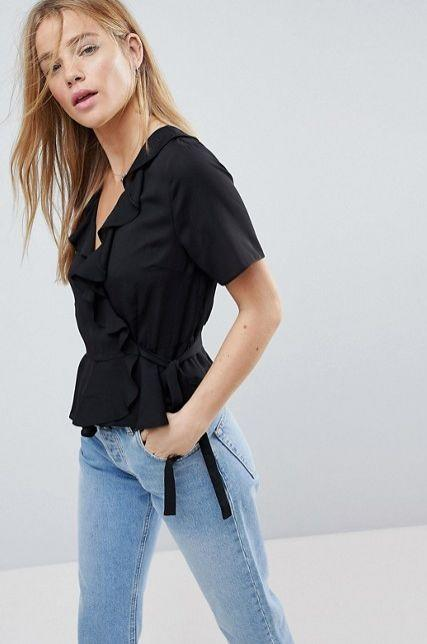 "Get it <a href=""http://us.asos.com/asos/asos-wrap-top-with-ruffle-detail/prd/8980747?clr=black&SearchQuery=wrap%20top&gridcolumn=3&gridrow=1&gridsize=4&pge=1&pgesize=72&totalstyles=426"" target=""_blank"">here</a>."