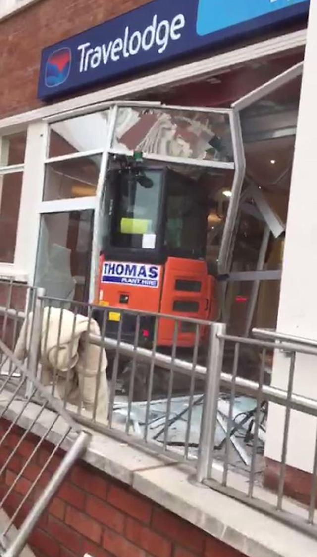 John Manley drove a digger through the front of the Travelodge on 21 January last year. (Samuel White/PA)