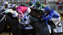 Essential Quality (2), with jockey Luis Saez up, breaks down the track at the start of the 153rd running of the Belmont Stakes horse race, Saturday, June 5, 2021, at Belmont Park in Elmont, N.Y. (Essential Quality (2) won the race. AP Photo/Seth Wenig)