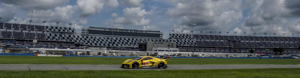 The No. 3 Corvette C8.R of Antonio Garcia and Jordan Taylor won the GTLM class Saturday at Daytona International Speedway, (Brian Cleary/Getty Images)