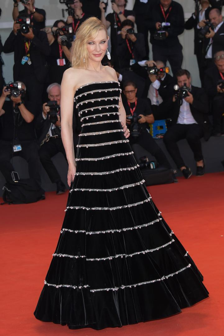 A Venice Film Festival regular, Cate Blanchett has the whole red carpet game down and posed for a photo call in a cold-shoulder Armani Privé gown at the 'Joker' premiere. <em>[Photo: Getty]</em>