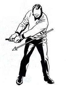 "<p>The drive is one shot in golf where the emphasis is on distance as opposed to accuracy (though the latter is certainly important). The drive is also the one shot in which you want to sweep the ball without striking the turf.</p> <p>One way to achieve maximum distance while sweeping the ball away is to fully extend yourself, both on your backswing and your follow-through.</p> <p>Note, in the illustrations, how my hands move as far as possible away from my body, both going back and swinging through. It is this extension that (1) helps me fully stretch the big muscles of my body and legs and (2) flattens out my clubhead arc in the hitting area so that it is traveling at ""ball height"" for maximum distance before and after impact.</p>"