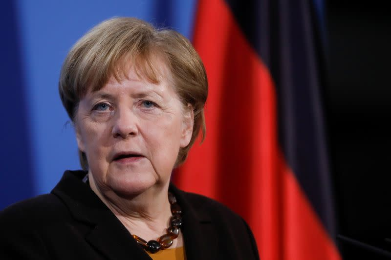 German Chancellor Angela Merkel briefs the media after a virtual meeting with federal state governors at the chancellery in Berlin