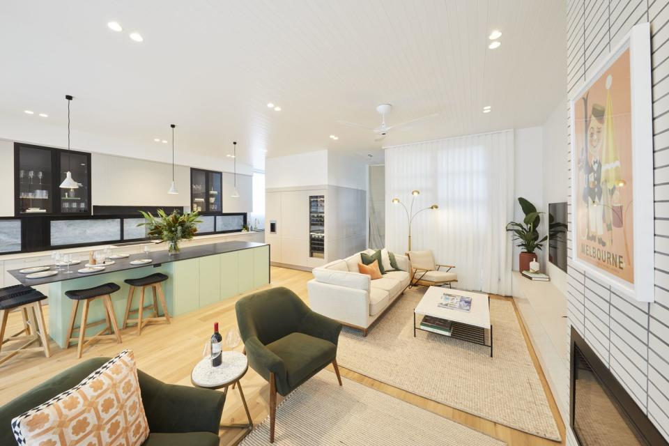 Jimmy and Tam's kitchen/living room on The Block. Photo: Domain