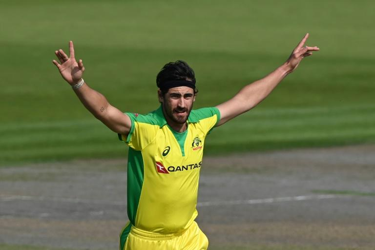 Double strike - Australia's Mitchell Starc celebrates having England's Joe Root lbw for nought after dismissing Jason Roy with the first ball of the third ODI at Old Trafford