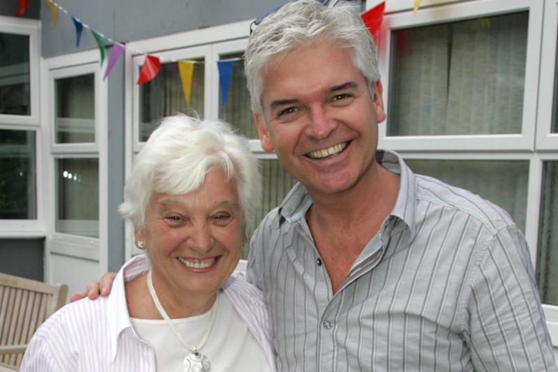 Phillip with doting mum Pat who told him 'I don't care' when he came out as gay (Phillip Schofield/Instagram)
