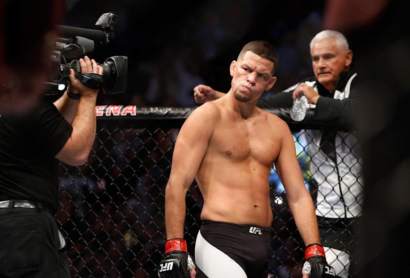Diaz fights for the first time since his bloody battle with Conor McGregor in 2016. (Getty Images)