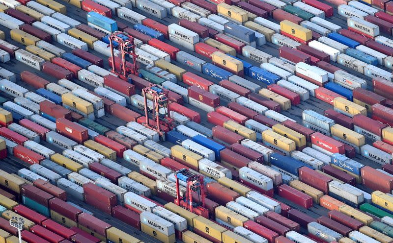 Containers are seen at a terminal in the port of Hamburg