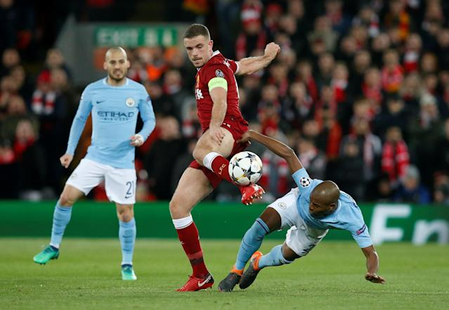 <p>Soccer Football – Champions League Quarter Final First Leg – Liverpool vs Manchester City – Anfield, Liverpool, Britain – April 4, 2018 Liverpool's Jordan Henderson in action with Manchester City's Fernandinho REUTERS/Andrew Yates </p>