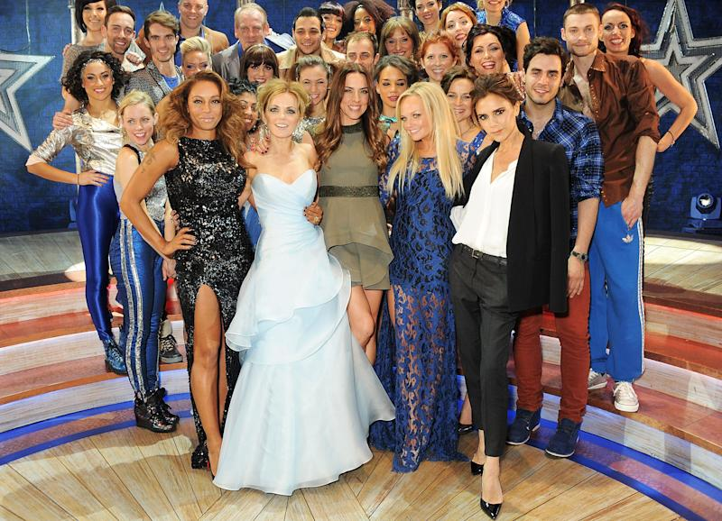 The Spice Girls with the cast of Viva Forever (Photo: Dave M. Benett via Getty Images)