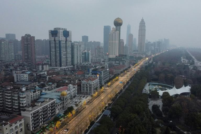 An aerial view shows the nearly empty streets in Wuhan, which the government has effectively sealed off