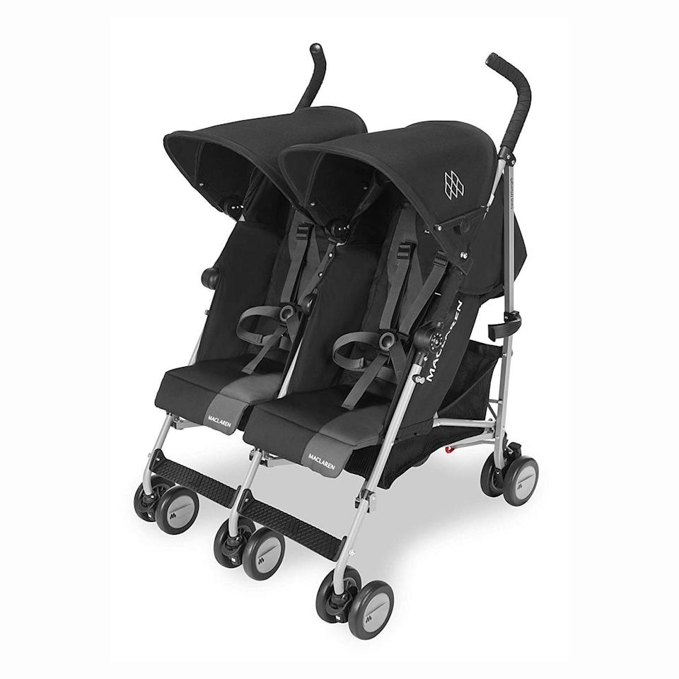 "<p><strong>Maclaren</strong></p><p>mbeans.com</p><p><strong>$350.00</strong></p><p><a href=""https://www.mbeans.com/products/maclaren-twin-triumph-double-stroller-2018-2021"" rel=""nofollow noopener"" target=""_blank"" data-ylk=""slk:Shop Now"" class=""link rapid-noclick-resp"">Shop Now</a></p><p>Weighing at just 23 pounds, this double stroller<strong> fits through standard doorways and folds up easily, making it ideal for even longer trips.</strong> Each extendable waterproof hood has a UPF of 50+ and each seat is padded and features independent, multi-position recline. The set also includes a raincover for stormy weather.<br></p><p><strong><strong>• </strong>Stroller weight: </strong>23 pounds<strong><br><strong>• </strong>Weight limit</strong>: 110 pounds<br><strong><strong>• </strong>Ages</strong>: 6 months and up</p>"