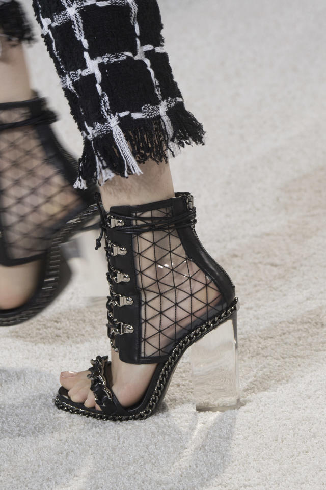 <p><i>Clear block heels from the SS18 Balmain collection. (Photo: ImaxTree) </i></p>