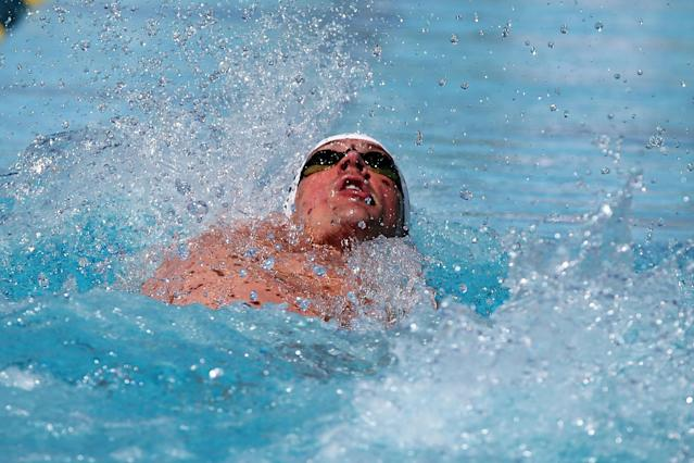 MESA, AZ - APRIL 16: Ryan Lochte competes in the prelims of the men's 200 meter backstroke at the Skyline Aquatic Center on April 16, 2016 in Mesa, Arizona. (Photo by Chris Coduto/Getty Images)