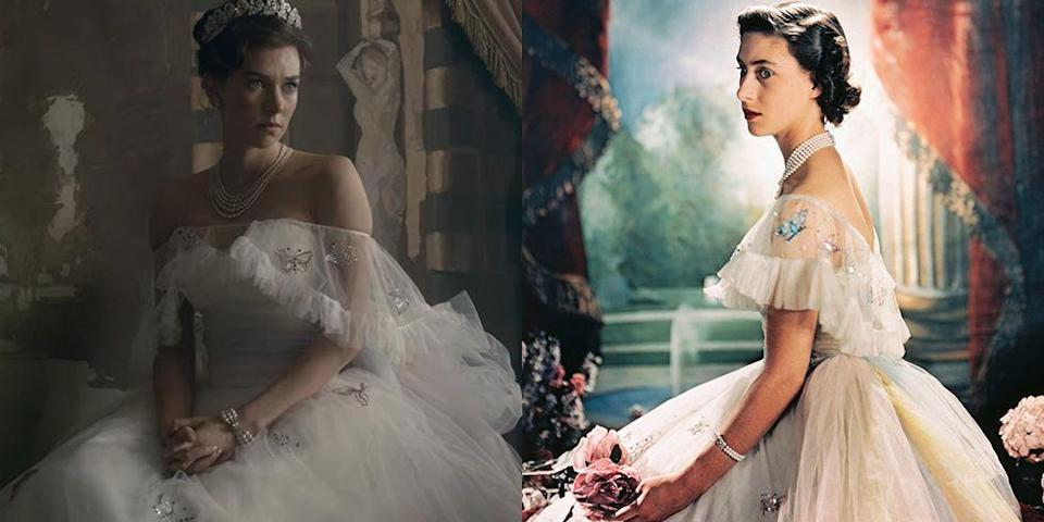 """<p>In season 2, viewers see Princess Margaret posing for famous photographer Cecil Beaton in an off-the-shoulder tulle ball gown, embroidered with sequin butterflies. The recreation of the dress is impressive. However, the photo was taken in 1944, not <a href=""""https://www.townandcountrymag.com/society/tradition/a14417785/princess-margaret-birthday-portrait-the-crown/"""" rel=""""nofollow noopener"""" target=""""_blank"""" data-ylk=""""slk:in 1959"""" class=""""link rapid-noclick-resp"""">in 1959</a> as the show's timeline suggests. </p>"""
