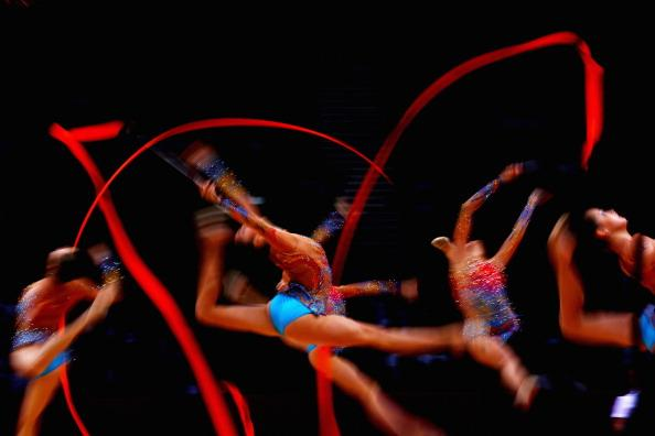 LONDON, ENGLAND - AUGUST 12:  Bulgaria perform during the Group All-Around Rhythmic Gymnastics Final Rotation 2 on Day 16 of the London 2012 Olympic Games at Wembley Arena on August 12, 2012 in London, England.  (Photo by Quinn Rooney/Getty Images)