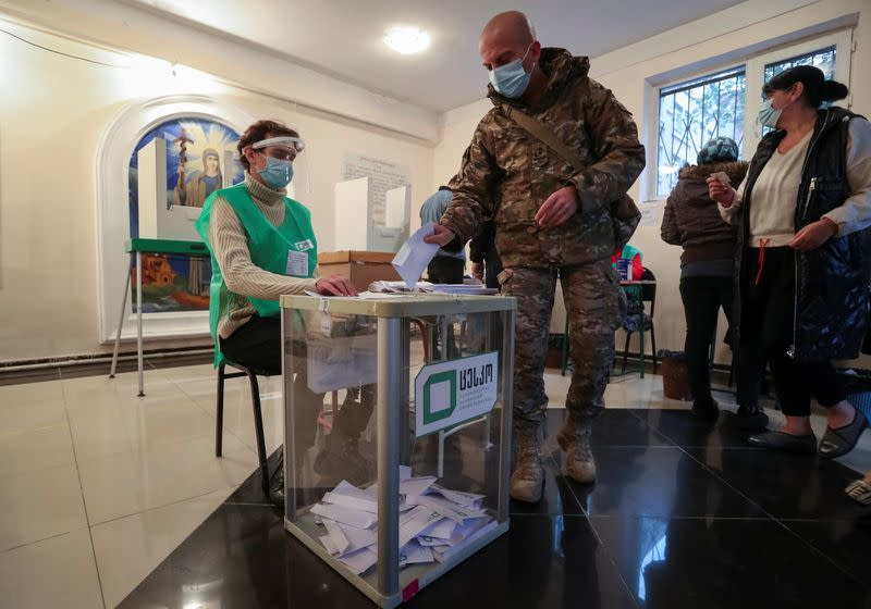 Vote at a municipal election in Tbilisi