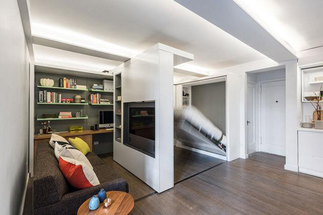 5 1 Apartment By Michael K Chen Architecture A 390 Square Foot Manhattan That Morphs Into Different Rooms With Movable Walls
