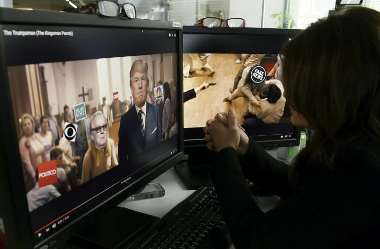 A parody video portrays a fake US President Donald Trump assaulting the news media and political opponents (AFP Photo/STAFF)
