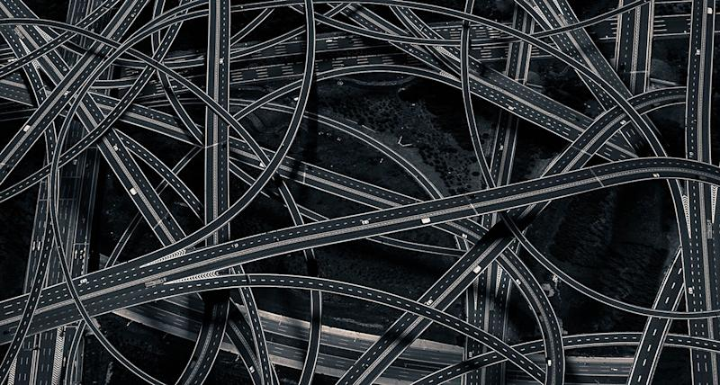 <div>The winner of the architecture prize was photographer Dongni, who took this picture of a tangle of streets criss-crossing over each other, (Dongni) </div>
