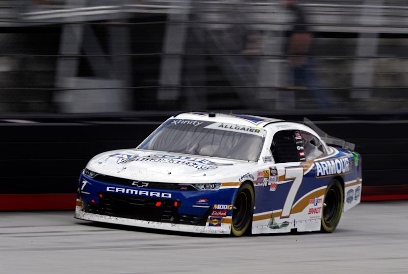 Driver Justin Allgaier (7) drives down the back stretch during the NASCAR Xfinity Series auto race on Saturday, April 6, 2019, in Bristol, Tenn. (AP Photo/Wade Payne)