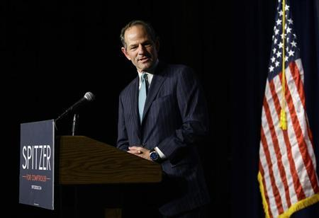 Former New York State Governor and Democratic candidate for New York City Comptroller Spitzer speaks during his Democratic primary election night event in New York