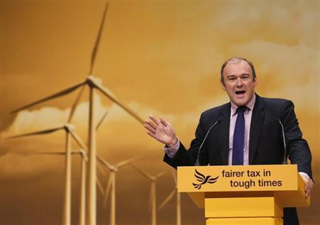 Britain's Secretary of State for Energy and Climate Change Davey speaks speaks during the Liberal Democrats annual conference in Brighton