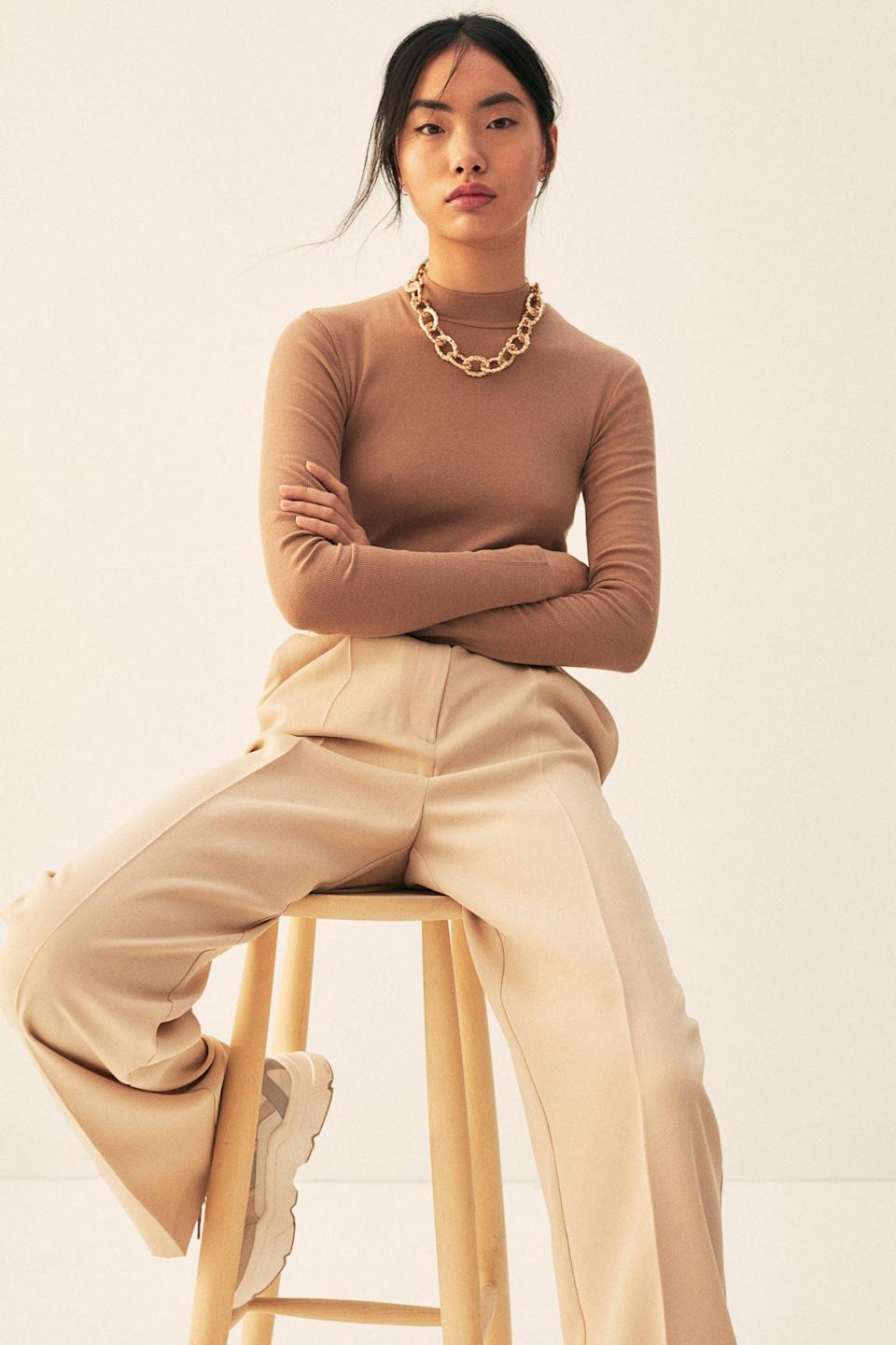 <p>I love the neutral shade of this <span>Ribbed Bodysuit</span> ($10). It makes it such a versatile layer.</p>