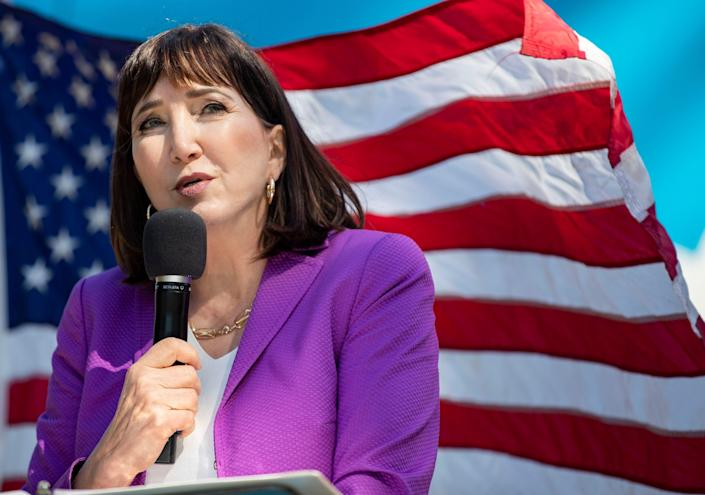 Libertarian presidential candidate Jo Jorgensen makes a stop at Florida State University during her 2020 campaign tour Saturday, Oct. 17, 2020.