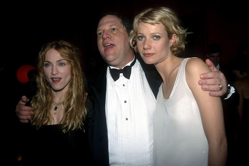 BEVERLY HILLS, CA - JANUARY 18: (L-R) Madonna, Harvey Weinstein and Gwyneth Paltrow attend Annual Golden Globe Awards After Party Hosted by Miramax Films at the Beverly Hilton Hotel on January 18, 1998 in Beverly Hills, CA. (Photo by Patrick McMullan/Patrick McMullan via Getty Images)