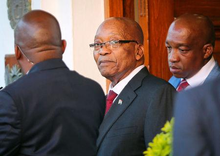 FILE PHOTO: President Jacob Zuma leaves Tuynhuys, the office of the Presidency at Parliament in Cape Town, South Africa, February 7, 2018.