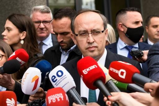 Avdullah Hoti addresses media in Pristina after being elected new prime minister at the head of a centre-right administration to draw a line under months of political turmoil