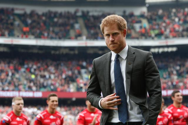 Harry at the Army Navy rugby match at Twickenham stadium. (Getty Images)