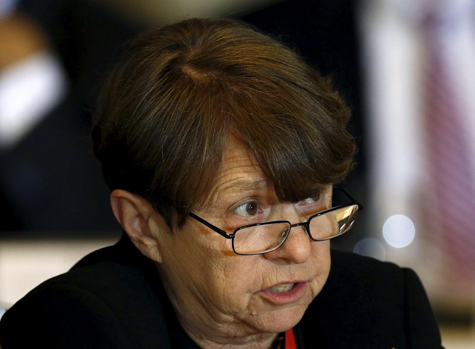 Security and Exchange Commission Chair Mary Jo White delivers her remarks while attending the Financial Security Oversight Committee hearing at the Treasury Department in Washington November 2, 2015. REUTERS/Gary Cameron